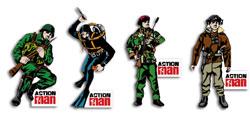 Action Man Meningitis Trust badges
