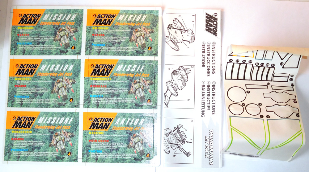 Action Man Thunderwing Jet Pack Mission Cards, Instructions and Sticker Sheet