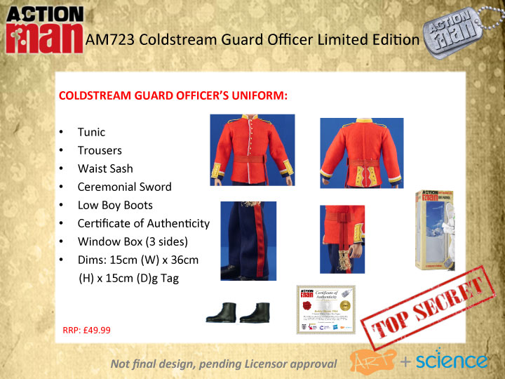 Action Man 50th Anniversary Coldstream Guards Officer Uniform